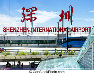 China Shenzhen Airport - Busy airport terminal in Shenzhen,...