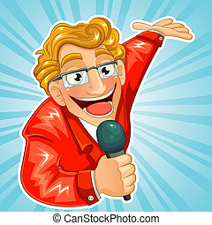 TV host - cartoon TV host holding a microphone and making a...