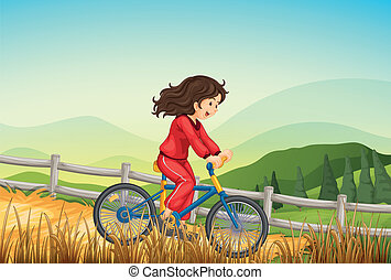 A girl biking at the farm - Illustration of a girl biking at...