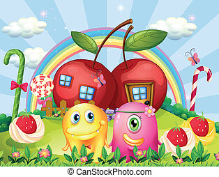 Couple monsters at the hilltop with a rainbow and apple houses