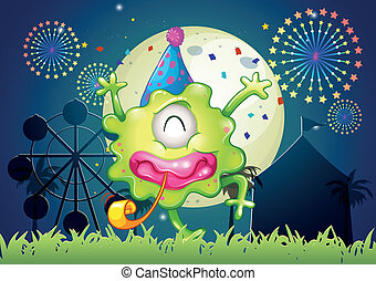 Illustration of a happy one-eyed monster at the carnival...