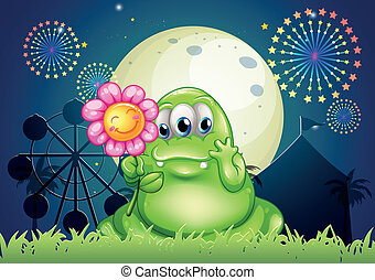 Illustration of a fat green monster holding a flower at the...