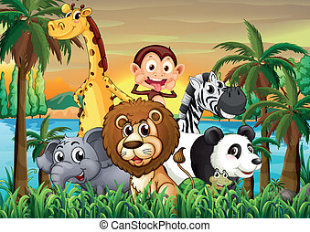 A group of animals at the riverbank with coconut trees -...