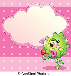 A green monster holding a red rose