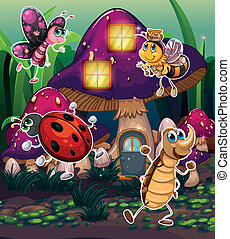 Different insects near the mushroom house