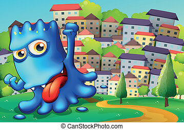 A boastful blue monster above the hill across the buildings