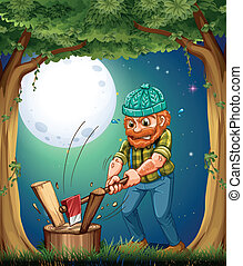 A forest with a hardworking woodman chopping woods -...