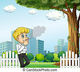 A man smoking during his breaktime - Illustration of a man...