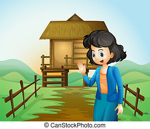A female near the native farmhouse - Illustration of a...