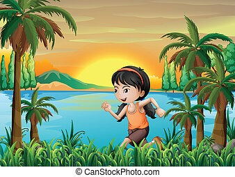 A girl jogging near the lake
