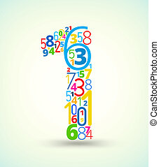 Number 1, colored vector font from numbers - Number 1, from...