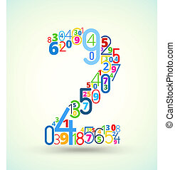 Number 2, colored vector font from numbers - Number 2, from...