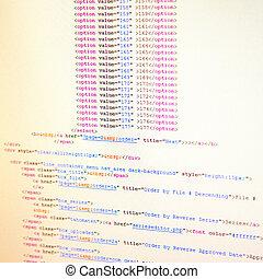 HTML code - White pc screen full with HTML code