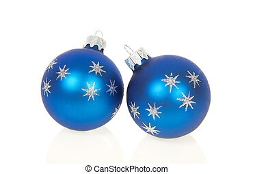 Christmas blue balls isolated on white