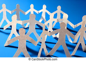 paper people having a party - team of paper people having a...