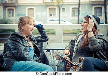 three friends woman in urban contest