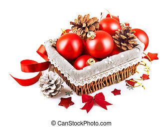 christmas red ball in basket isolated on white background