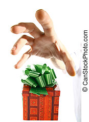 seize gift - The hand tries to seize gift already soon