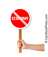 mão, segurando, economia, vermelho, sinal
