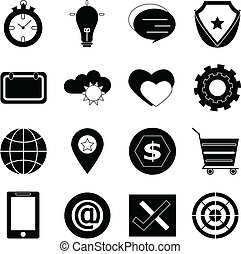 General icons on white background, stock vector