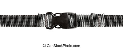 Black plastic buckle on strap isolated
