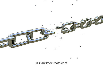 broken chain isolated on white background