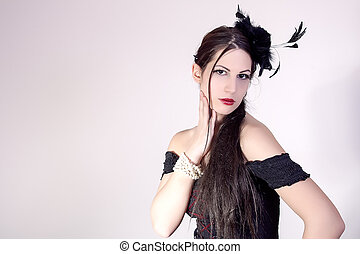 Pretty woman with fashion hairstyle - portrait of beautiful...