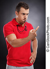 Angry Coach. Portrait of Young Coach with whistle