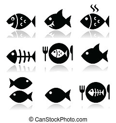 Fish, fish on plate, skeleton vecor - Vector icons set on...