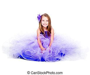 little girl in a beautiful purple dress