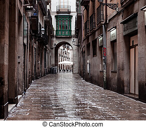 Old streets of Barrio Gotico - BARCELONA, CATALONIA - June...