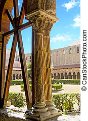Cloister, Monreale - Sicily - Cloister of the Cathedral of...