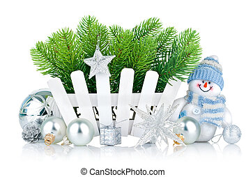 christmas tree with snowman and silvery balls isolated on...
