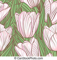 Seamless pattern with tulips - Decorative floral seamless...