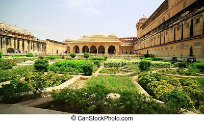 View of Amber Fort gardens in Jaipur India