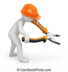 repairman with flat-nose pliers. image with a work path
