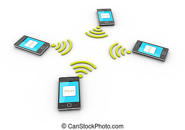 Smart phone and wireless technology. Wireless concept.