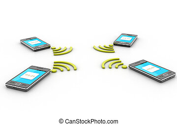 Smart phone and wireless technology Wireless concept
