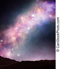 Space over the mountains - Beautiful space scene over the...