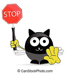 sweet and cute cat with sign stop vector