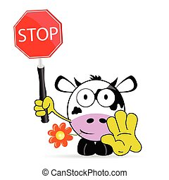 sweet and cute cow with sign stop vector