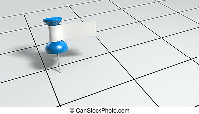 Thumbtack With Blank Label On Generic Calendar - A blue...