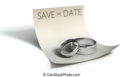 Save The Date Rings And Note - A marriage or engagement...