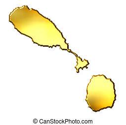 Saint Kitts and Nevis 3d Golden Map - Saint Kitts and Nevis...
