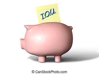 Piggy Bank IOU - A pink ceramic piggy bank on an isolated...