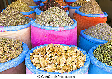 Spices at the market in Morocco