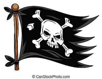 flag pirate cartoon vector illustration