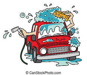 car wash cartoon vector illustration