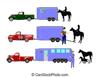 horses and trailers - horse trailers with cowboys and pick...