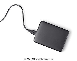 External hard disk - Top view of external hard disk isolated...
